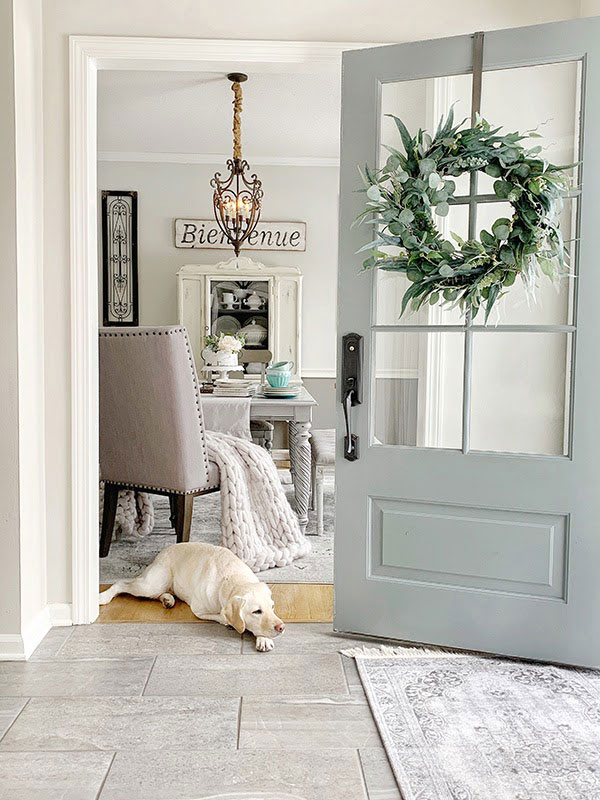 Dog at the home entrance
