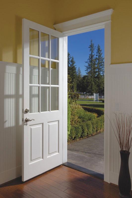 All white entrance door
