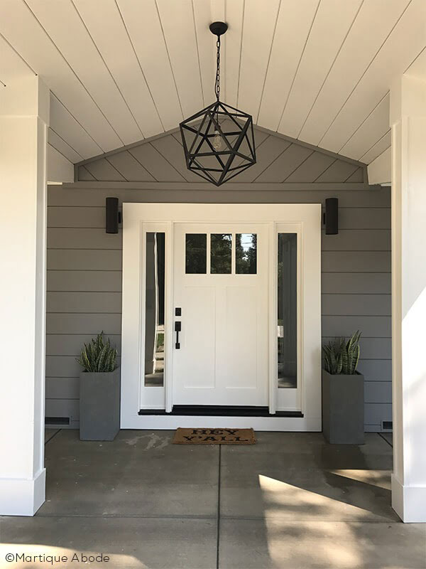 White wood entrance door
