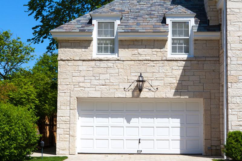 white 2 car garage door