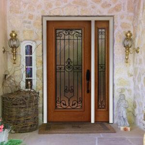 door with wooden frame
