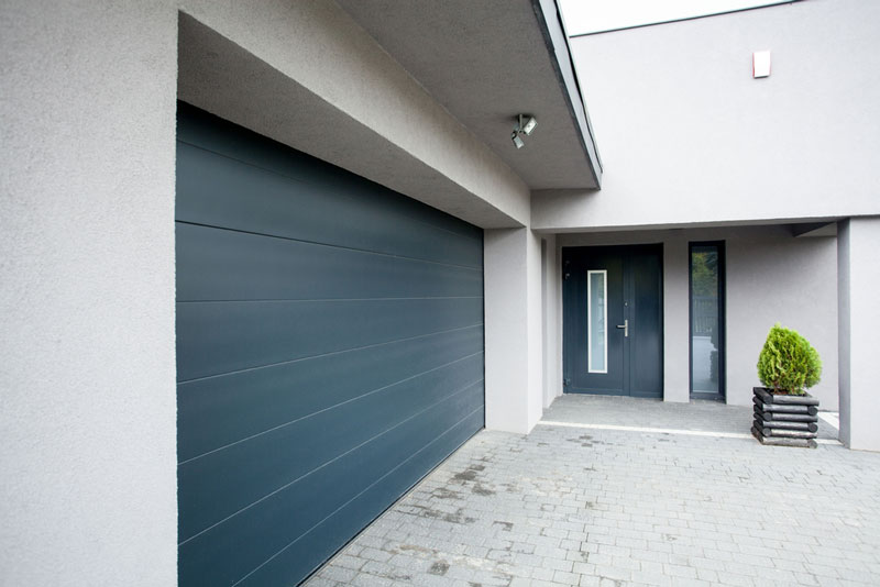 modern styled house and garage door