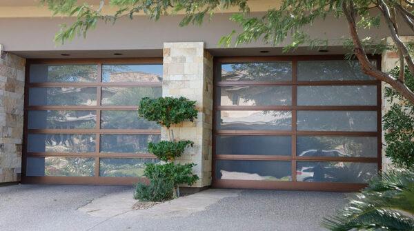 glass garage door with wood frame