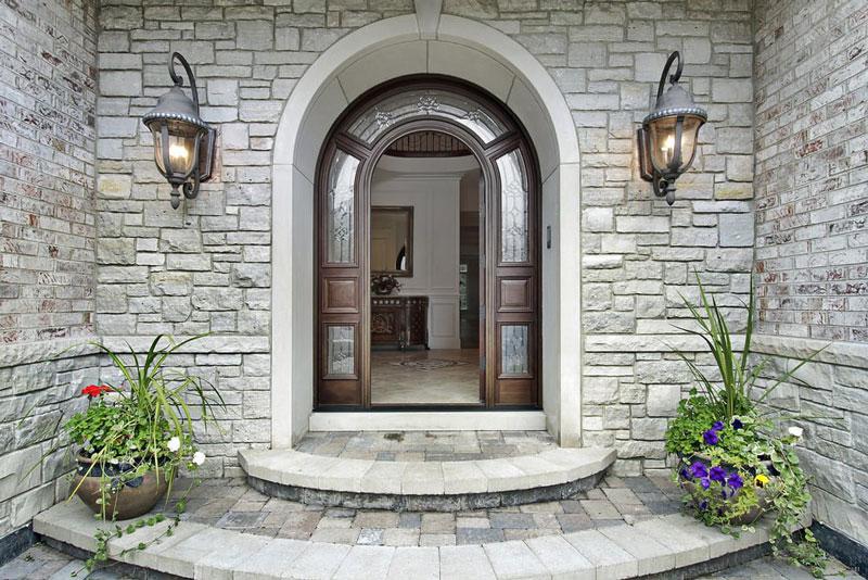 stone house with big front door