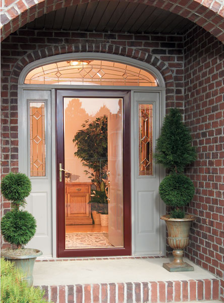 brick house with glass front door
