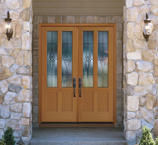wooden double door