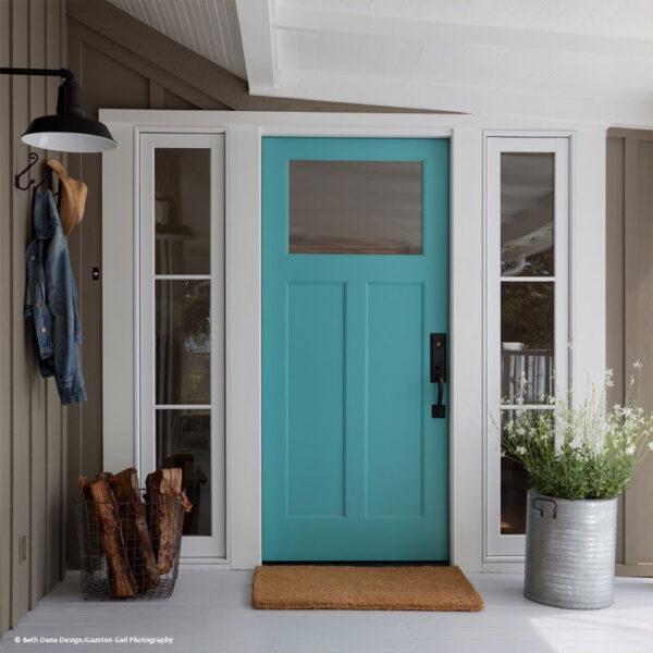 blue Wood entry door
